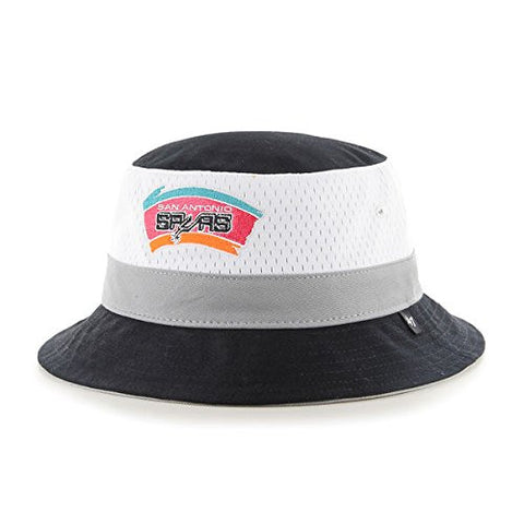 "47 Brand San Antonio Spurs Black ""Double Line Drop"" Bucket Hat - NBA Gilligan Fishing Cap"