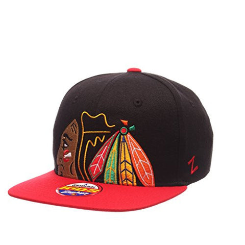 "Chicago Blackhawks YOUTH ""Peek"" Adjustable Snapback Cap - NHL Zephyr Kid's Flat Bill Baseball Hat"