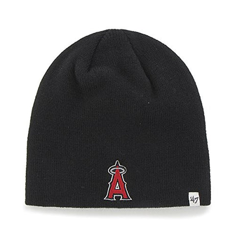 Anaheim Angels of Los Angeles Black Skull Cap - MLB Cuffless Winter Knit Toque Beanie Hat