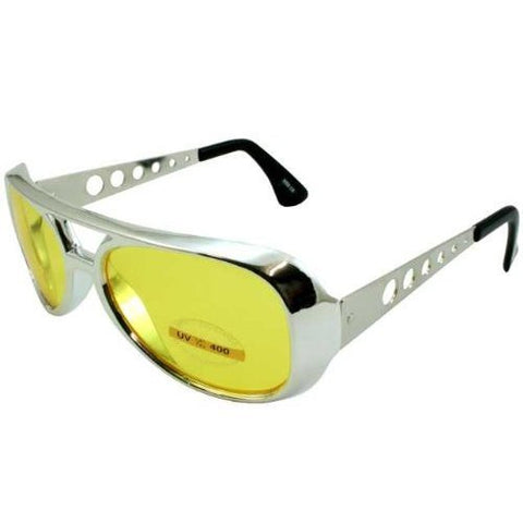Yellow Elvis Aviator Sunglasses Chrome Frame