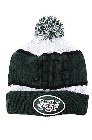 "New York Jets Green Cuff Black letter ""Calgary"" Beanie Hat with Pom - NFL NY Cuffed Winter Knit Toque Cap"