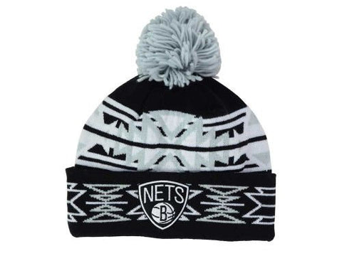 "Brooklyn Nets Black ""Geotech"" Argyle Beanie Hat with Pom - NBA Cuffed Winter Knit Toque Cap"