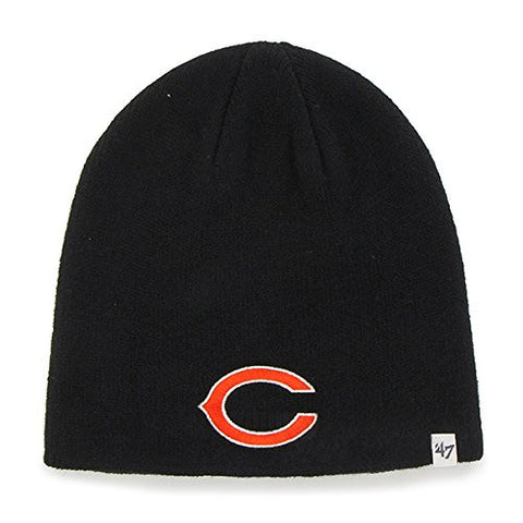 Chicago Bears Black Skull Cap - NFL Cuffless Beanie Knit Hat
