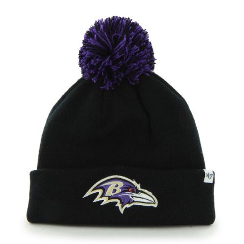 Baltimore Ravens Black Pom Pom 2-Sided Beanie Hat - NFL Cuffed Winter Knit Toque Cap