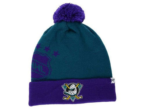 "Anaheim Ducks ""Double Stack"" Beanie Hat with Pom - NHL Cuffed Winter Knit Toque Cap"