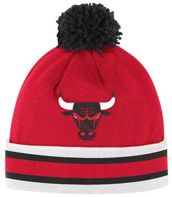 Chicago Bulls Mitchell & Ness Throwback Beanie Cap - NBA Knit Hat with Pom
