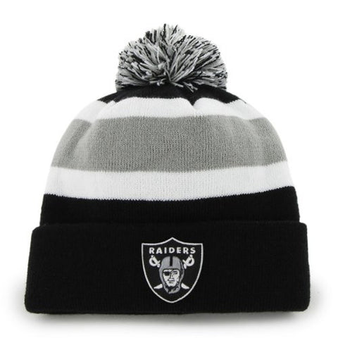 "Oakland Raiders Black ""Breakaway"" Beanie Hat with Pom - NFL Cuffed Winter Knit Toque Cap"