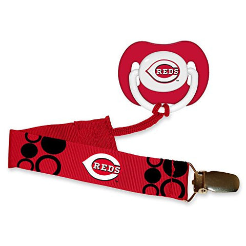 Cincinnati Reds Infant Pacifier and Pacifier Clip - MLB Baby Fanatic Combo Gift Set