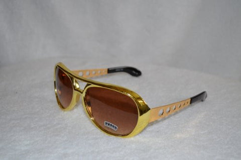 Gold Elvis Sunglasses with Smokey Lens - Aviator Glasses