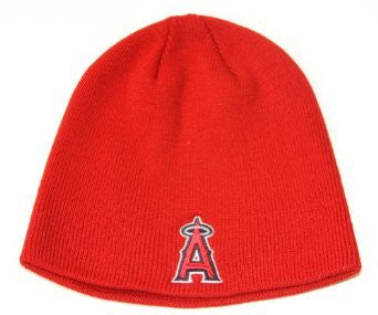 Anaheim Angels Red Skull Cap - LA MLB Cuffless Winter Knit Hat