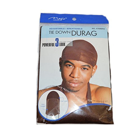 Brown Du Rag Tie Down Cap - Wave Builder Du-Rag Hat