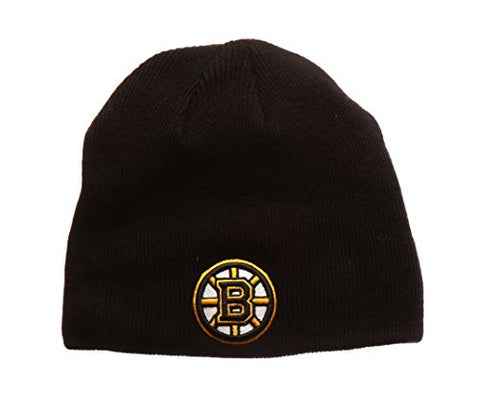 "Boston Bruins Black ""Edge"" Skull Cap - NHL Cuffless Winter Knit Beanie Toque Hat"