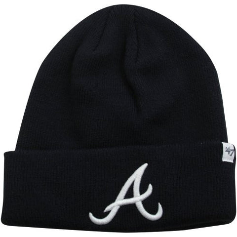 Atlante Braves Navy Blue Cuff Beanie Hat - MLB Cuffed Winter Knit Toque Cap