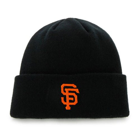 San Francisco Giants Black Beanie Cuffed Knit Hat - MLB Raised Logo Cap