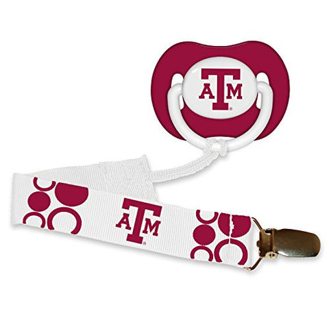 Texas A&M Aggies Infant Pacifier and Pacifier Clip - NCAA Baby Fanatic Combo Gift Set