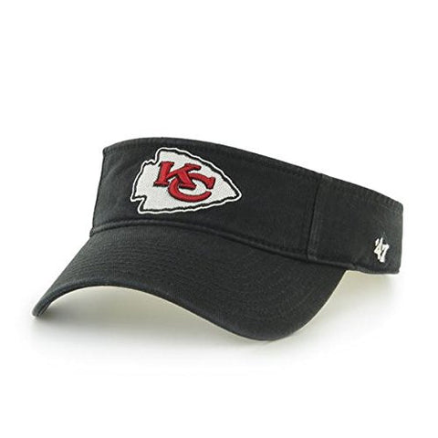 47 Brand Kansas City Chiefs Black Men's Clean Up Visor Hat - NFL Golf Cap, One Size