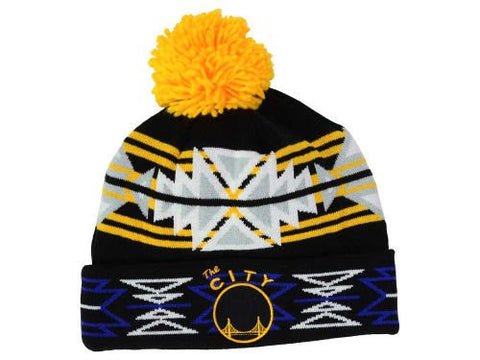 6198d7f50db Golden State Warriors Black Geotech Beanie Hat with Pom - NBA Cuffed W –  Grand Slam Hats