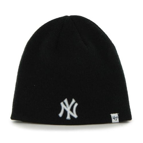 New York Yankees Navy Blue Skull Cap (B47) - MLB Cuffless Beanie Toque Knit Hat