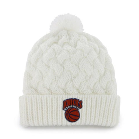 New York Knicks White Snow Angel Pom Beanie Cap - NBA NY Women/Ladies Cuffed Knit Toque Hat
