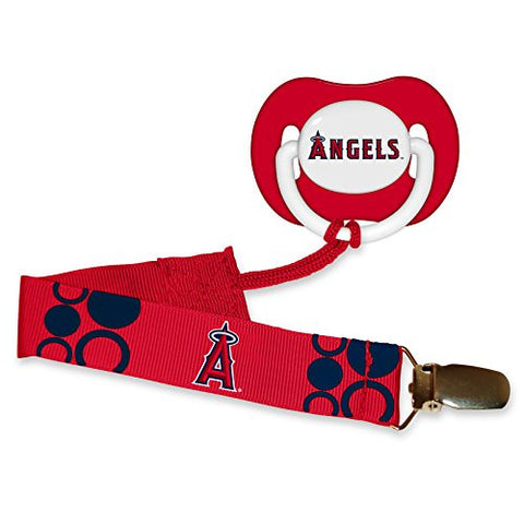 Los Angeles Angels of Anaheim Red Infant Pacifier and Pacifier Clip - MLB Baby Fanatic Combo Gift Set