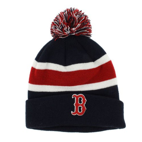 "Boston Red Sox Navy ""Breakaway"" Beanie Hat with Pom - MLB Cuffed Winter Knit Toque Cap"