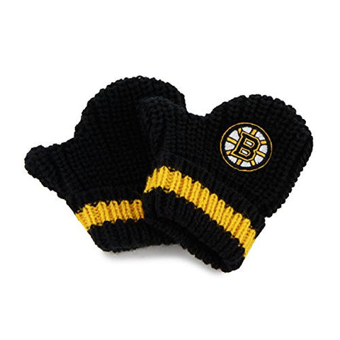 "Boston Bruins ""Baby Rae"" Infant/Newborn Gloves - NHL Baby Knit Mittens"