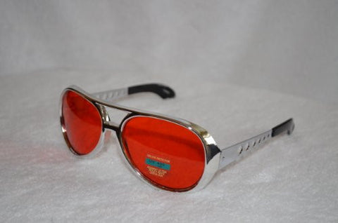 Red Elvis Sunglasses with Silver Frame - Aviator Glasses