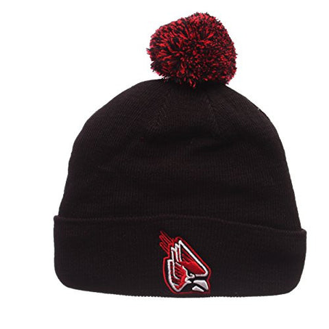 Ball State Cardinals Black Cuff Beanie Hat with Pom POM - NCAA SDSU Cuffed Winter Knit Toque Cap