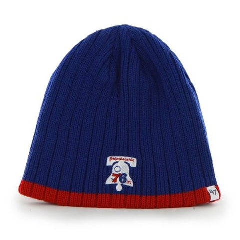 "Philadelphia 76ers Royal Blue ""Wide Whale"" Skull Cap - NBA Cuffless Beanie Knit Hat"