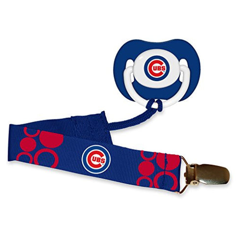 Chicago Cubs Blue Infant Pacifier and Pacifier Clip - MLB Baby Fanatic Combo Gift Set