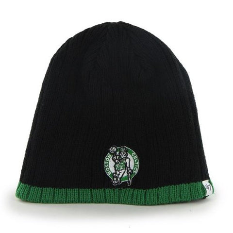 "Boston Celtics Black ""Wide Whale"" Skull Cap - NBA Cuffless Beanie Knit Hat"