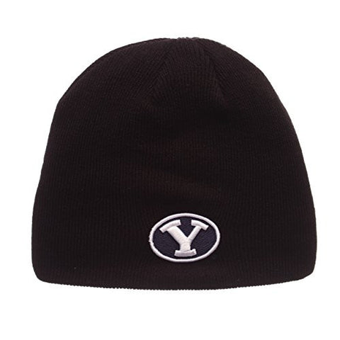 "BYU Cougars Black ""Edge"" Skull Cap - NCAA Cuffless Winter Knit Beanie Toque Hat"