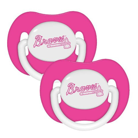 Atlanta Braves Pink 2-pack Infant Pacifier Set - 2014 MLB Baby Girl Pacifiers