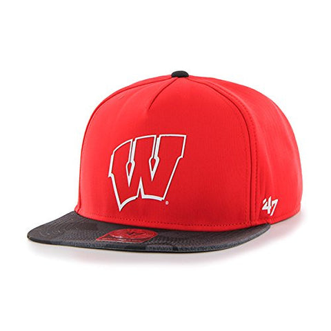"Wisconsin Badgers 2-Tone ""Sure Shot"" Adjustable Snapback Cap - 47 Brand NCAA Flat Bill Baseball Hat"