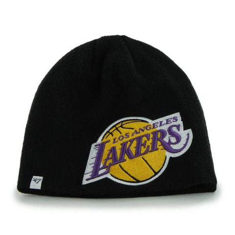 "Los Angeles Lakers Black ""Mammoth"" Skull Cap - NBA LA Cuffless Beanie Knit Hat"