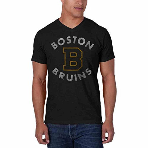 NHL Boston Bruins Black V-Neck Men's Scrum Tee, 47 Brand T-Shirt