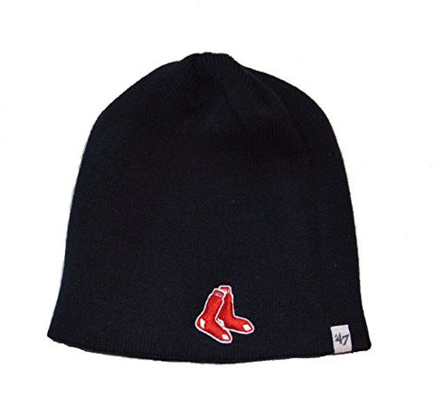 "Boston Red Sox ""Two Socks"" Blue Skull Cap - MLB Cuffless Beanie Toque Knit Hat"