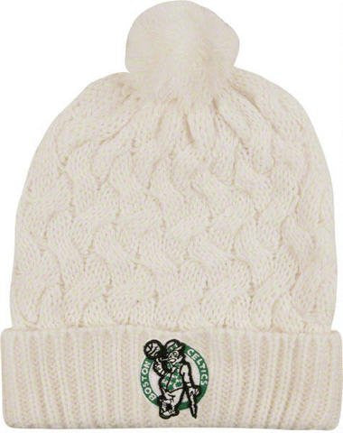 Boston Celtics White Snow Angel Beanie Knit Hat with Pom - NBA Ladies/Women Cuffed Toque Cap