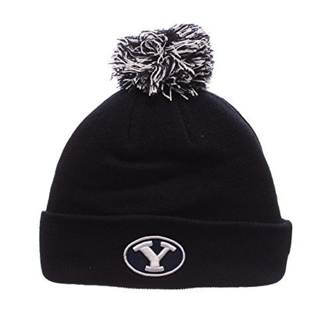 Brigham Young University Cougars Navy Blue Cuff Beanie Hat with Pom POM - NCAA BYU Cuffed Winter Knit Toque Cap