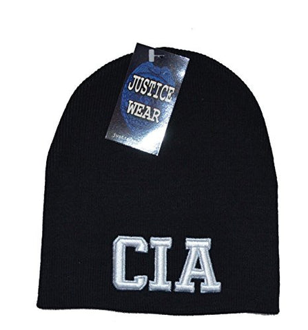 CIA Black Skull Cap - Law Military Cuffless Beanie Knit Hat
