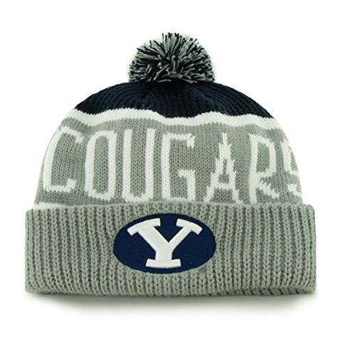 "Brigham Young Cougars Gray Cuffed ""Calgary"" Beanie Hat with Pom - NCAA BYU Cuff Winter Knit Toque Cap"
