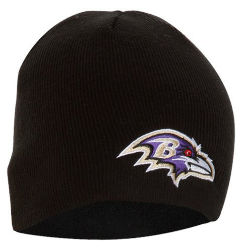Baltimore Ravens Black Skull Cap - NFL Cuffless Knit Beanie Hat
