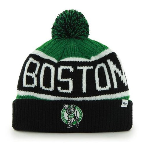 "Boston Celtics Black Cuff ""Calgary"" Pom Beanie Cap - NBA Cuffed Knit Hat"