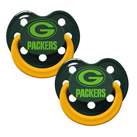 Green Bay Packers Glow in Dark 2-Pack Baby Pacifier Set - NFL Infant Pacifiers