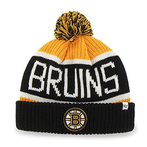 "Boston Bruins Black Cuff ""Calgary"" Beanie Hat with POM POM - NHL Cuffed Winter Knit Toque Cap"