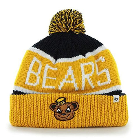 "California Berkeley Golden Bears Yellow Cuff ""Calgary"" Beanie Hat with Pom - NCAA CAL Cuffed Winter Knit Toque Cap"