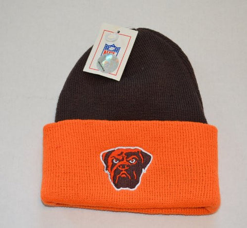 Cleveland Browns 2-Tone Dawg Pound Beanie Hat - NFL Knit Toque Cuffed Cap