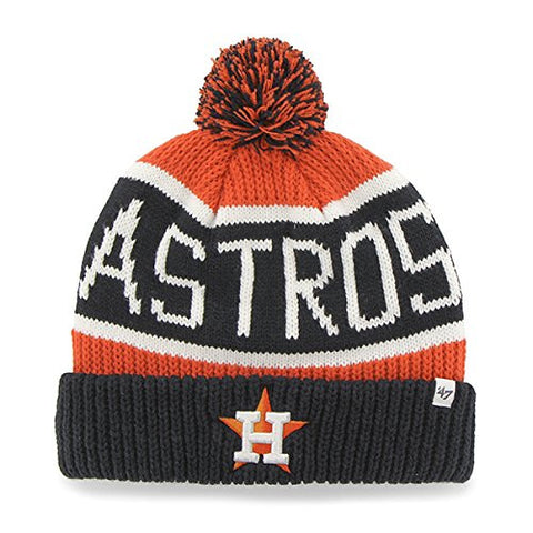 "Houston Astros Blue Cuff ""Calgary"" Beanie Hat with POM POM - MLB Cuffed Winter Knit Toque Cap"