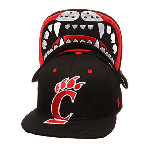 "Cincinnati Bearcats Black ""Menace"" Adjustable Snapback Cap - NCAA Flat Bill, Men's One Size Baseball Hat"