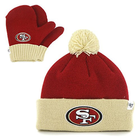 "San Francisco 49ers Infant/Toddler ""Bam Bam"" Beanie Hat POM and Glove Gift combo - NFL Baby Knit Cap/Mittens"
